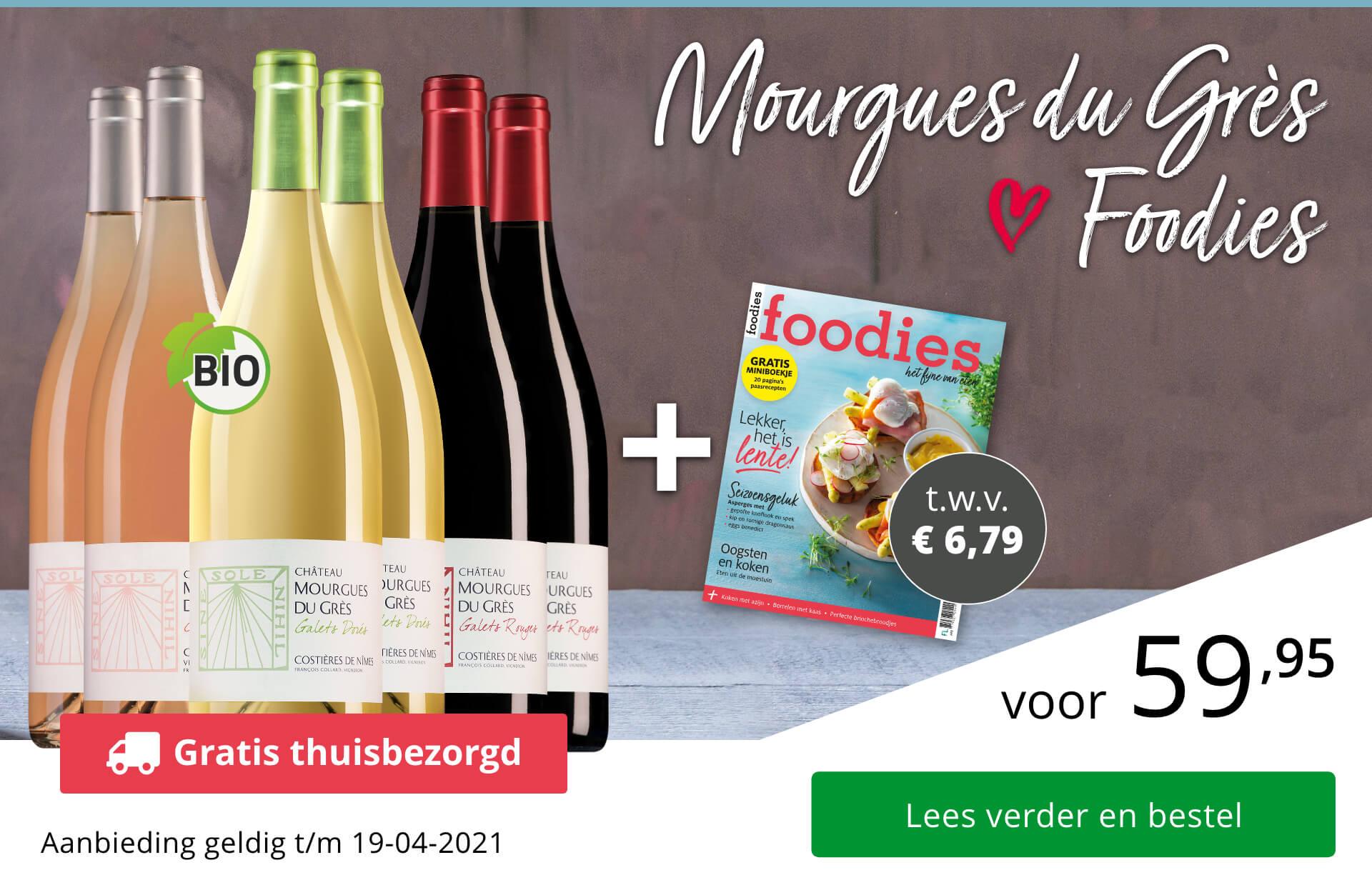 Wijnpakket Mourgues du Grès + Foodies-magazine
