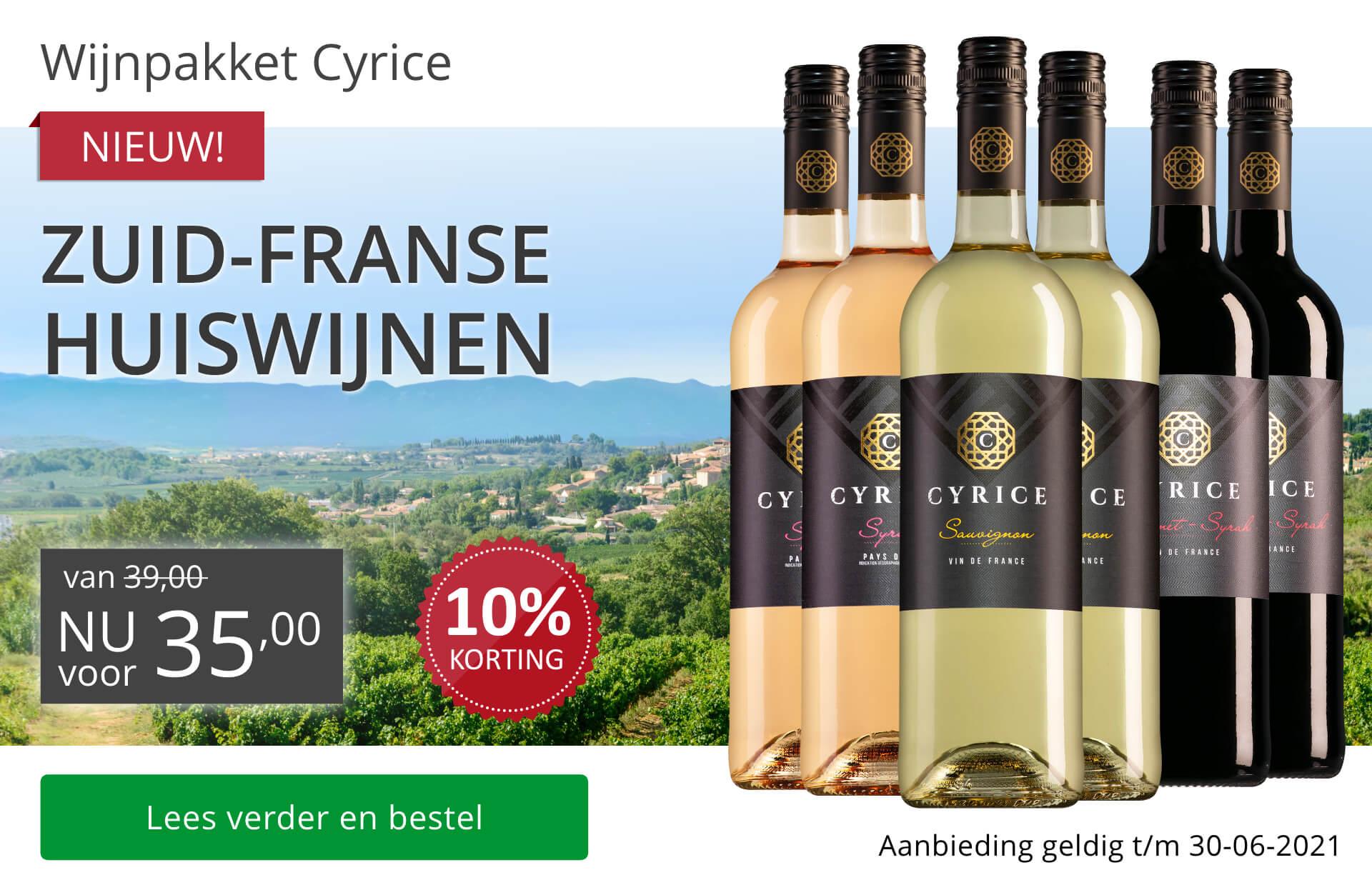 Wijnpakket huiswijnen Cyrice juni2021 (35,00)